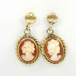 Jewelry - Solid 14K Yellow Gold Cameo Dangle Post Earrings